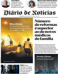 capa Diário de Notícias de 9 agosto 2018