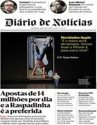 capa Diário de Notícias de 13 setembro 2018