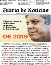 capa Diário de Notícias de 16 outubro 2018