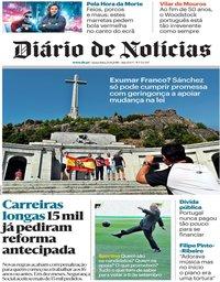 capa Diário de Notícias de 24 agosto 2018