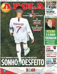 capa Jornal A Bola de 1 julho 2018