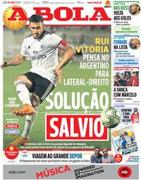 capa Jornal A Bola de 1 agosto 2018