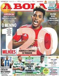 capa Jornal A Bola de 1 setembro 2018