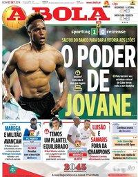 capa Jornal A Bola de 2 setembro 2018