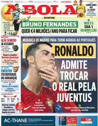 capa Jornal A Bola de 3 julho 2018