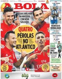 capa Jornal A Bola de 3 setembro 2018