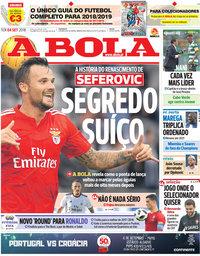 capa Jornal A Bola de 4 setembro 2018