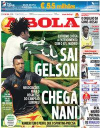 capa Jornal A Bola de 6 julho 2018