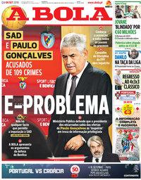 capa Jornal A Bola de 6 setembro 2018