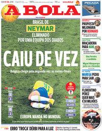 capa Jornal A Bola de 7 julho 2018
