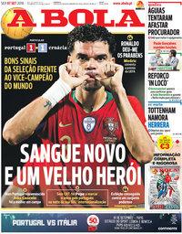 capa Jornal A Bola de 7 setembro 2018