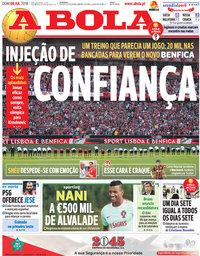 capa Jornal A Bola de 8 julho 2018