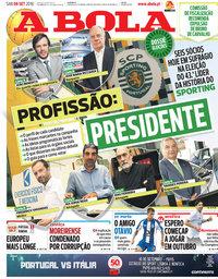 capa Jornal A Bola de 8 setembro 2018