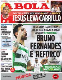 capa Jornal A Bola de 9 julho 2018