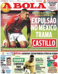 capa Jornal A Bola de 9 agosto 2018
