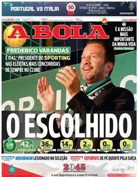 capa Jornal A Bola de 9 setembro 2018