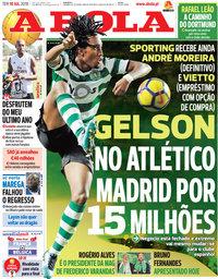 capa Jornal A Bola de 10 julho 2018