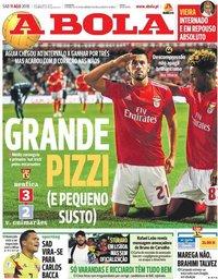 capa Jornal A Bola de 11 agosto 2018
