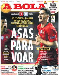 capa Jornal A Bola de 11 setembro 2018