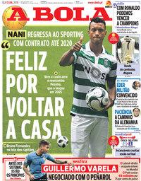 capa Jornal A Bola de 12 julho 2018