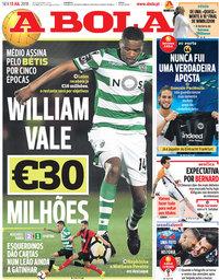 capa Jornal A Bola de 13 julho 2018