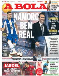 capa Jornal A Bola de 13 setembro 2018