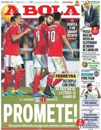 capa Jornal A Bola de 14 julho 2018