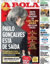 capa Jornal A Bola de 14 setembro 2018