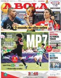 capa Jornal A Bola de 15 julho 2018