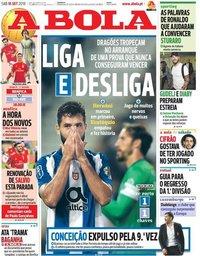 capa Jornal A Bola de 15 setembro 2018