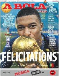 capa Jornal A Bola de 16 julho 2018