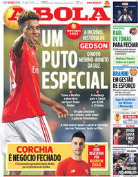 capa Jornal A Bola de 16 agosto 2018