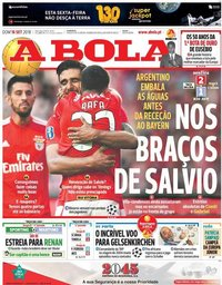 capa Jornal A Bola de 16 setembro 2018