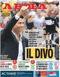 capa Jornal A Bola de 17 julho 2018