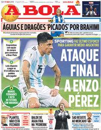 capa Jornal A Bola de 17 agosto 2018