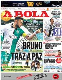 capa Jornal A Bola de 17 setembro 2018