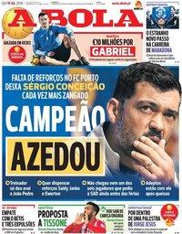 capa Jornal A Bola de 19 julho 2018