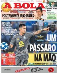 capa Jornal A Bola de 19 setembro 2018