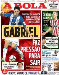 capa Jornal A Bola de 20 julho 2018