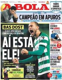 capa Jornal A Bola de 21 julho 2018