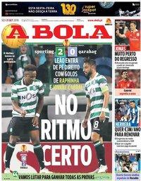 capa Jornal A Bola de 21 setembro 2018