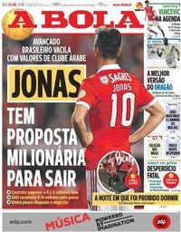 capa Jornal A Bola de 23 julho 2018