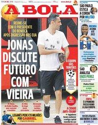 capa Jornal A Bola de 24 julho 2018