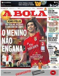 capa Jornal A Bola de 24 setembro 2018