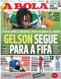 capa Jornal A Bola de 25 julho 2018