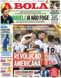 capa Jornal A Bola de 26 julho 2018