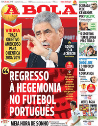 capa Jornal A Bola de 27 julho 2018