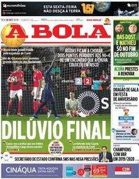 capa Jornal A Bola de 28 setembro 2018
