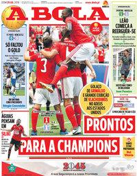 capa Jornal A Bola de 29 julho 2018