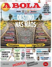 capa Jornal A Bola de 29 agosto 2018